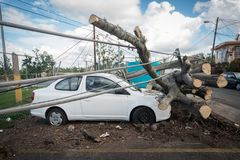 O naufrágio do furacão Maria fotografia de stock