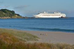 O navio de cruzeiros entra no porto de Tauronga Nova Zelândia fotos de stock royalty free