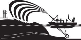 O navio de dragagem faz a ilha artificial ilustração royalty free