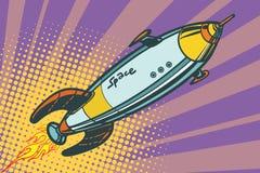 O navio de espaço retro voa acima ilustração do vetor