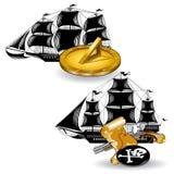 O navio de pirata náutico com fuzileiro naval fornece o pulso de disparo e a arma do sol com o mapa Fotos de Stock