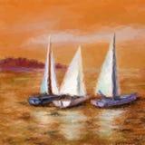 O navio flutua no mar Imagem de Stock