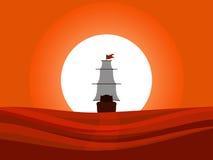 O navio que flutua afastado no por do sol Navegando a opinião traseira do navio medieval Columbus Day ilustração stock