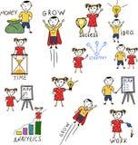 O negócio caçoa personagens de banda desenhada do desenho da mão Foto de Stock Royalty Free