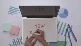 O negócio começa acima o conceito A mulher redige o PROJETO NOVO no papel video estoque