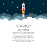 O negócio começa acima o conceito do vetor Rocket dirige no espaço Fotos de Stock