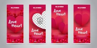 O negócio do coração do amor rola acima a bandeira com ilustração variante do vetor de 4 projetos ilustração royalty free