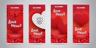 O negócio do coração do amor rola acima a bandeira com ilustração variante do vetor de 4 projetos ilustração do vetor