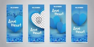 O negócio do coração do amor rola acima a bandeira com ilustração variante do vetor de 4 projetos ilustração stock