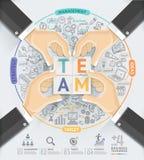 O negócio entrega o molde do infographics dos trabalhos de equipa Imagens de Stock Royalty Free