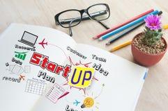 O negócio escreve a palavra do caderno começa acima Imagens de Stock Royalty Free