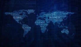 O negócio exprime a forma do mapa do mundo no backgroun da torre do gráfico e da cidade Fotos de Stock