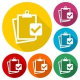 O negócio, gestão, ícones dos recursos humanos ajustou-se com sombra longa ilustração stock