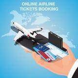 O negócio migra a concepção Bilhetes de avião em linha Bilhetes de avião de compra ou de registro Fotografia de Stock