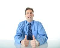 O negócio ou as vendas equipam a doação de dois polegares grandes acima Foto de Stock Royalty Free
