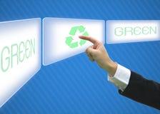 O negócio que aponta o logotipo da tela recicl o eco verde Imagens de Stock