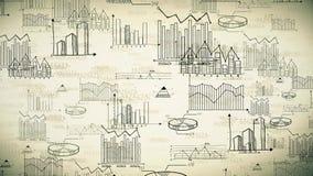 O negócio retro velho sem emenda da animação, o mercado e a estatística financeira rabiscam o fundo da informação ilustração royalty free