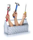 O negócio utiliza ferramentas o conjunto de ferramentas da caixa de ferramentas Imagem de Stock Royalty Free