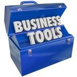 O negócio utiliza ferramentas o software dos recursos da gestão da caixa de ferramentas Imagens de Stock