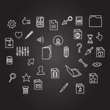 O negócio variado do ícone da informática do arquivo e do cursor ajustou-se na mão do esboço que tira o estilo preto da placa Foto de Stock