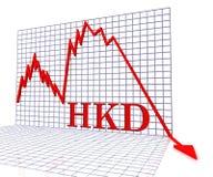 O negativo do gráfico do HKD significa a rendição de Hong Kong Dollar And Coinage 3d Imagem de Stock