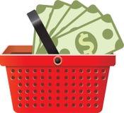 O negócio assina dentro a cesta da loja Imagens de Stock Royalty Free