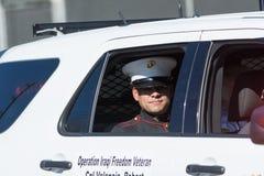 Żołnierz piechoty morskiej na samochodzie Obrazy Stock