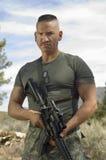 Żołnierz Z Maszynowym pistoletem Fotografia Stock