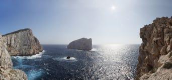 Żołnierza piechoty morskiej krajobraz, Capo Caccia, Alghero Sardinia Zdjęcie Stock