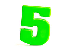 O número cinco fez do plástico Fotografia de Stock