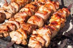 O no espeto apetitoso é cozido em carvões quentes imagens de stock royalty free