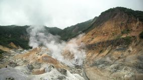 O Noboribetsu famoso Jigokudani - vale do inferno video estoque