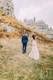 O noivo considerável no terno azul à moda que guarda as mãos com branco vestiu a noiva que anda na paisagem pastoral idílico Vist Foto de Stock