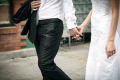O noivo e a noiva andam e guardam cada outro as mãos Foto de Stock