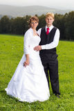O noivo e a noiva no prado Foto de Stock Royalty Free