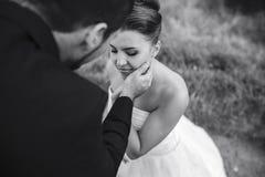 O noivo toca delicadamente na cara de sua noiva fotografia de stock