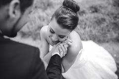 O noivo toca delicadamente na cara de sua noiva imagem de stock royalty free
