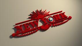 O nome de New York City com bandeira colore a letra denominada O ilustração royalty free