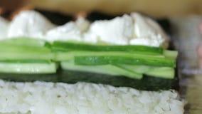 O nori de espalhamento do cozinheiro chefe e põe o pepino ao cozinhar rolos de sushi video estoque