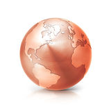 O norte de cobre e Ámérica do Sul da ilustração do globo 3D traçam Imagens de Stock Royalty Free