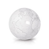 O norte de mármore branco e Ámérica do Sul da ilustração do globo 3D traçam Foto de Stock