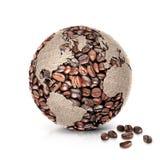 O norte e Ámérica do Sul da ilustração do mundo 3D do café traçam Imagem de Stock
