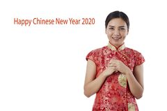 A?o Nuevo chino feliz de la mujer asi?tica hermosa foto de archivo