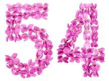 O numeral árabe 54, cinquenta e quatro, das flores da viola, isolou o Fotografia de Stock Royalty Free