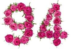 O numeral árabe 94, noventa quatro, das flores vermelhas de aumentou, isolat Fotografia de Stock Royalty Free