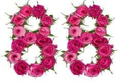 O numeral árabe 88, oitenta e oito, das flores vermelhas de aumentou, isola Foto de Stock Royalty Free