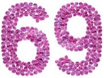 O numeral árabe 69, sessenta e nove, das flores do lilás, isolou o Imagem de Stock Royalty Free