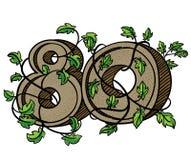 O numeral decorativo 80 decorou com ramos e folhas Fotos de Stock Royalty Free