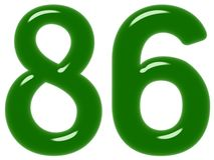 O numeral 86, oitenta e seis isolado no fundo branco, 3d rende ilustração royalty free