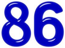 O numeral 86, oitenta e seis isolado no fundo branco, 3d rende ilustração do vetor